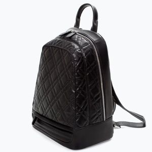 Zara Black Quilted Leather Backpack
